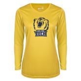 Ladies Syntrel Performance Gold Longsleeve Shirt-New York Tech Bear Head