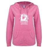 ENZA Ladies Hot Pink V Notch Raw Edge Fleece Hoodie-New York Tech Bear Head