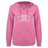 ENZA Ladies Hot Pink V Notch Raw Edge Fleece Hoodie-New York Tech