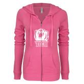 ENZA Ladies Hot Pink Light Weight Fleece Full Zip Hoodie-New York Tech Bear Head