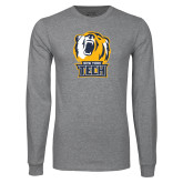 Grey Long Sleeve T Shirt-New York Tech Bear Head