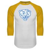 White/Gold Raglan Baseball T Shirt-Mascot