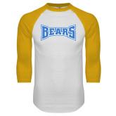 White/Gold Raglan Baseball T Shirt-Bears