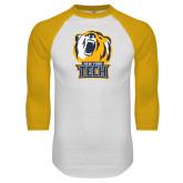 White/Gold Raglan Baseball T Shirt-New York Tech Bear Head