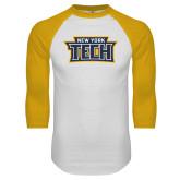 White/Gold Raglan Baseball T Shirt-New York Tech