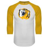 White/Gold Raglan Baseball T Shirt-Bear Head