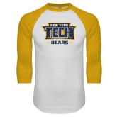 White/Gold Raglan Baseball T Shirt-New York Tech Bears