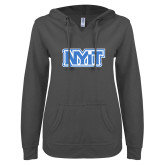 ENZA Ladies Dark Heather V Notch Raw Edge Fleece Hoodie-NYIT