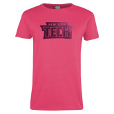 Ladies Fuchsia T Shirt-New York Tech Foil