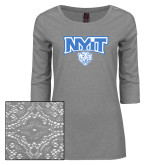 Ladies Grey Heather Lace 3/4 Sleeve Tee-Primary Mark