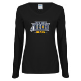 Ladies Black Long Sleeve V Neck Tee-New York Tech Claw Bears