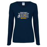 Ladies Navy Long Sleeve V Neck Tee-New York Tech Claw Bears