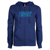 ENZA Ladies Royal Fleece Full Zip Hoodie-NYIT Turquoise Glitter