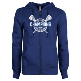 ENZA Ladies Royal Fleece Full Zip Hoodie-2018 Mens Lacrosse Champions