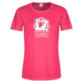 Ladies Performance Hot Pink Tee-New York Tech Bear Head