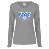 Ladies Grey Long Sleeve V Neck Tee-Primary Mark