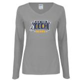 Ladies Grey Long Sleeve V Neck Tee-New York Tech Claw Bears