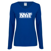 Ladies Royal Long Sleeve V Neck Tee-NYIT
