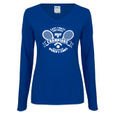 Ladies Royal Long Sleeve V Neck Tee-2018 NYIT ECC Tennis Champions