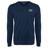 Classic Mens V Neck Navy Sweater-New York Tech