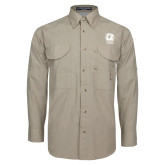 Khaki Long Sleeve Performance Fishing Shirt-New York Tech Bear Head