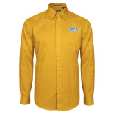 Gold Twill Button Down Long Sleeve-NYIT