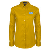 Ladies Gold Twill Button Down Long Sleeve-NYIT