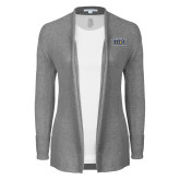 Ladies Heather Grey Open Front Cardigan-New York Tech
