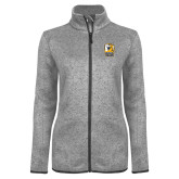 Grey Heather Ladies Fleece Jacket-New York Tech Bear Head