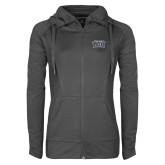 Ladies Sport Wick Stretch Full Zip Charcoal Jacket-New York Tech