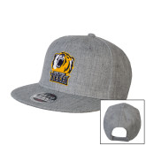 Heather Grey Wool Blend Flat Bill Snapback Hat-New York Tech Bear Head