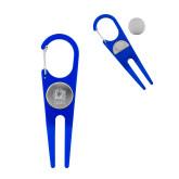Blue Aluminum Divot Tool/Ball Marker-New York Tech Bear Head Engraved