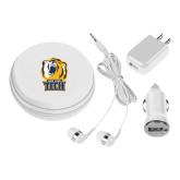 3 in 1 White Audio Travel Kit-New York Tech Bear Head