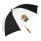 64 Inch Black/White Vented Umbrella-New York Tech Bear Head