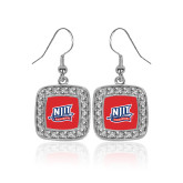 Crystal Studded Square Pendant Silver Dangle Earrings-NJIT Mark