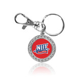 Crystal Studded Round Key Chain-NJIT Mark