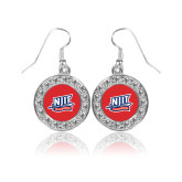 Crystal Studded Round Pendant Silver Dangle Earrings-NJIT Mark
