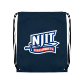 Navy Drawstring Backpack-NJIT Mark