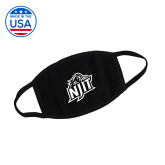 USA Made Black 3 Ply Cotton Mask-One Color Logo Facemask