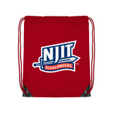Red Drawstring Backpack-NJIT Mark