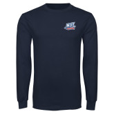 Navy Long Sleeve T Shirt-NJIT Mark