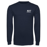Navy Long Sleeve T Shirt-Stacked Wordmark