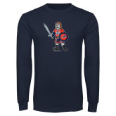 Navy Long Sleeve T Shirt-Mascot Distressed