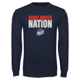 Navy Long Sleeve T Shirt-Highlander Nation