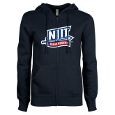 ENZA Ladies Navy Fleece Full Zip Hoodie-NJIT Mark