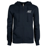 ENZA Ladies Navy Fleece Full Zip Hoodie-Stacked Wordmark