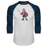 White/Navy Raglan Baseball T-Shirt-Mascot Distressed