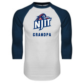 White/Navy Raglan Baseball T-Shirt-Grandpa