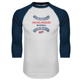White/Navy Raglan Baseball T-Shirt-Baseball Seams Design