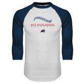 White/Navy Raglan Baseball T-Shirt-Baseball Stacked Design